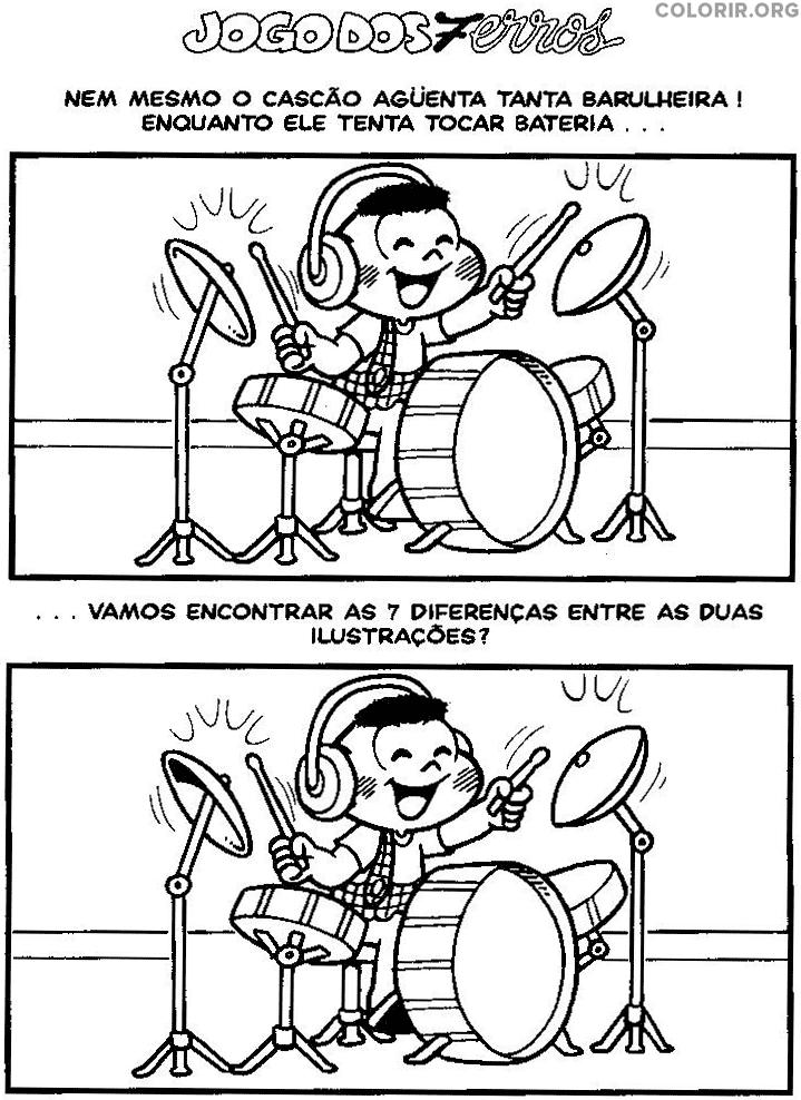 Jogo dos 7 erros do Cascão tocando bateria