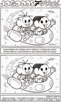 Jogo dos 7 erros do Cebolinha e Mônica em viagem espacial