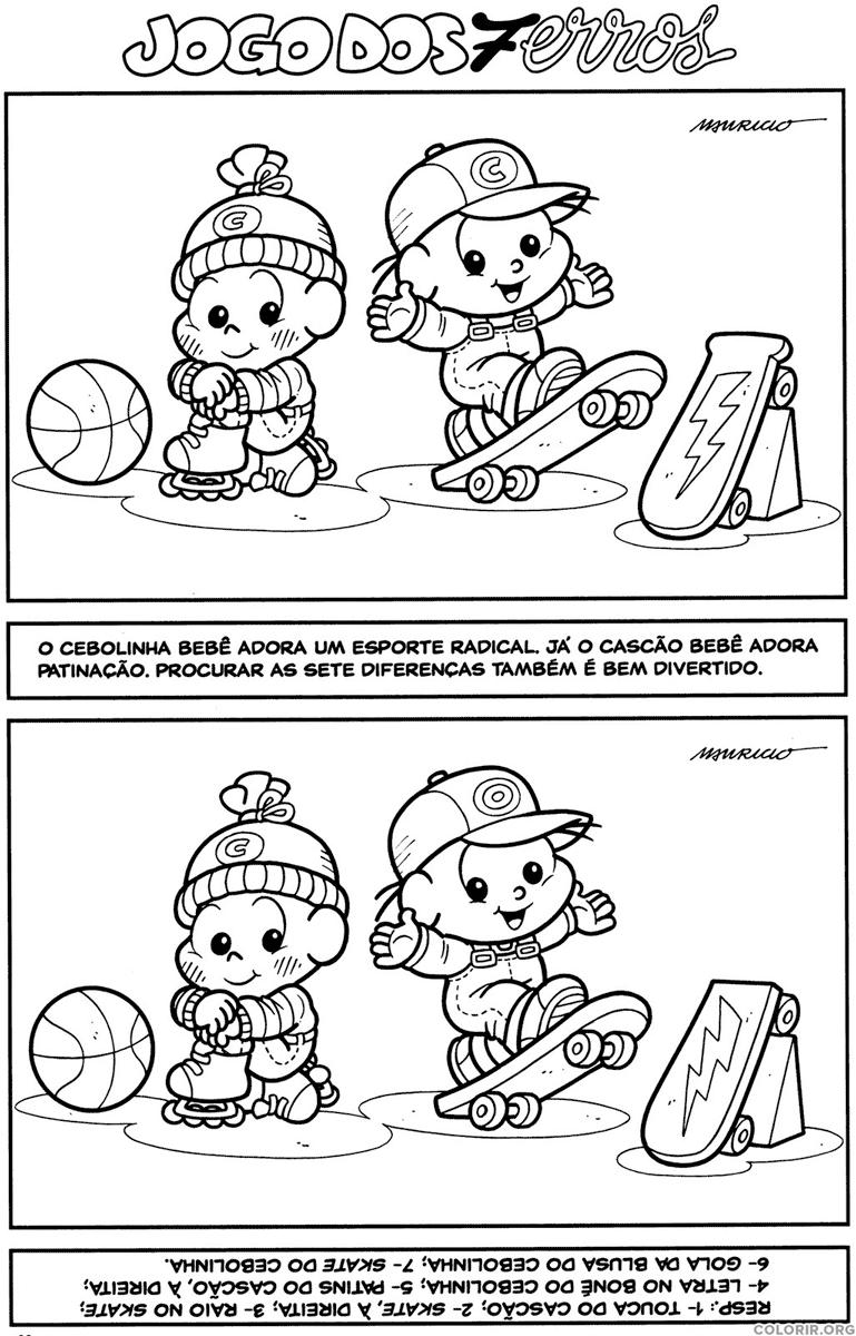 Jogo dos 7 erros do Cebolinha e Cascão Bebês