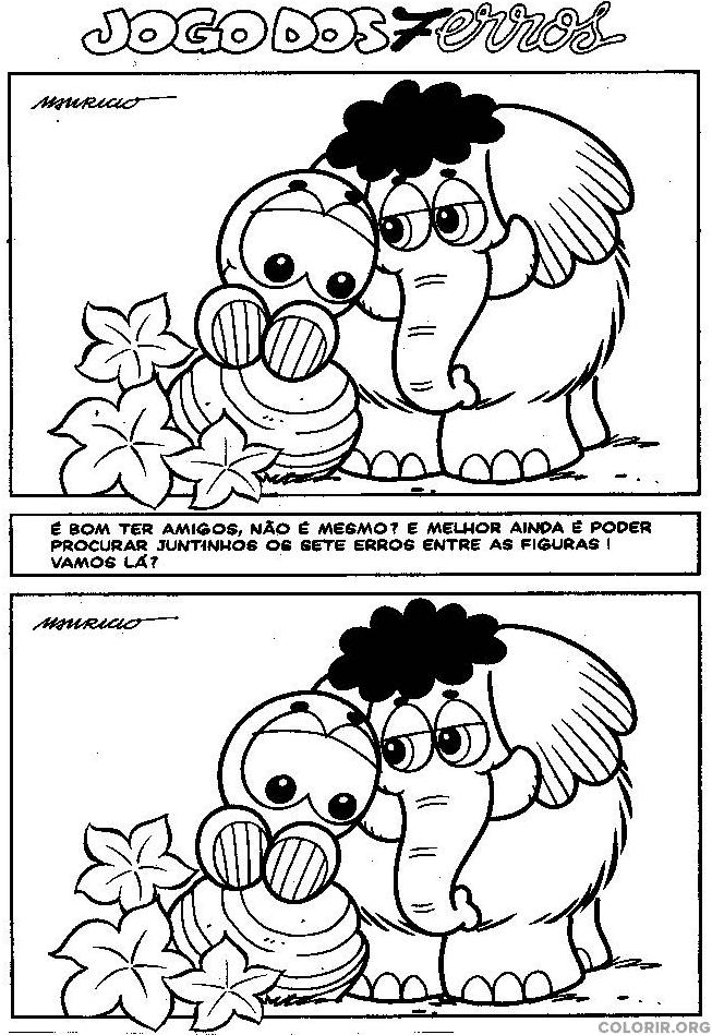 Jogo dos 7 erros dos animais da Turma da Mônica