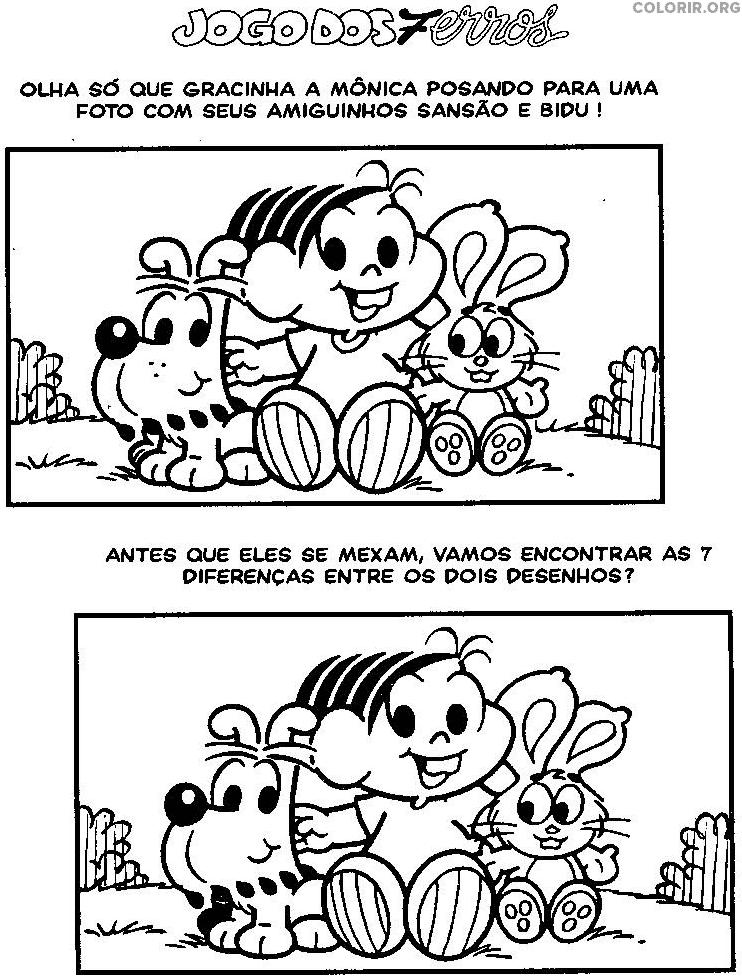 Jogo Dos 7 Erros Da Monica E Seus Animais De Estimacao Colorir Org
