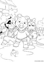 Piggley, Dannan e Fernandes brincando de pião