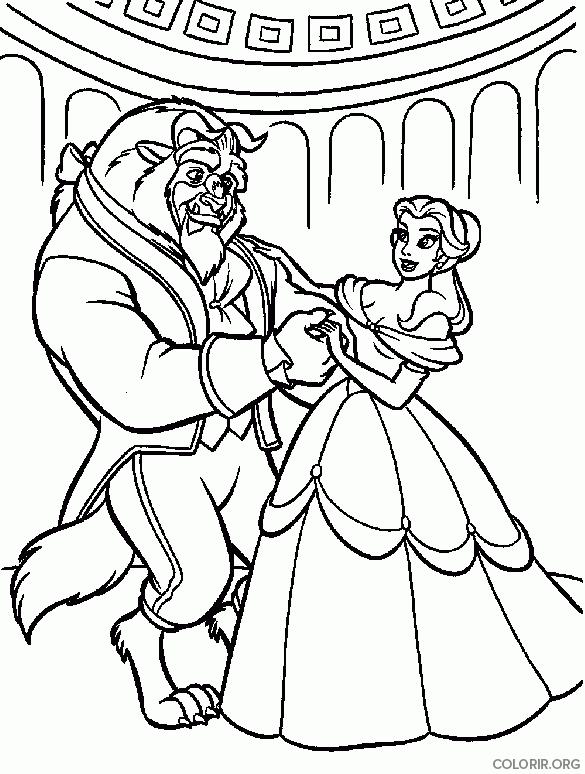 Bela e Fera dançando juntos para colorir