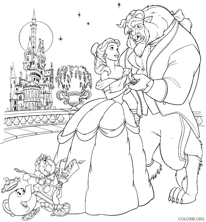 A Bela e a Fera em frente ao castelo