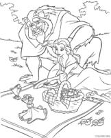 A Bela e a Fera fazendo piquenique para colorir