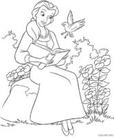 Bela lendo livro com pássaro