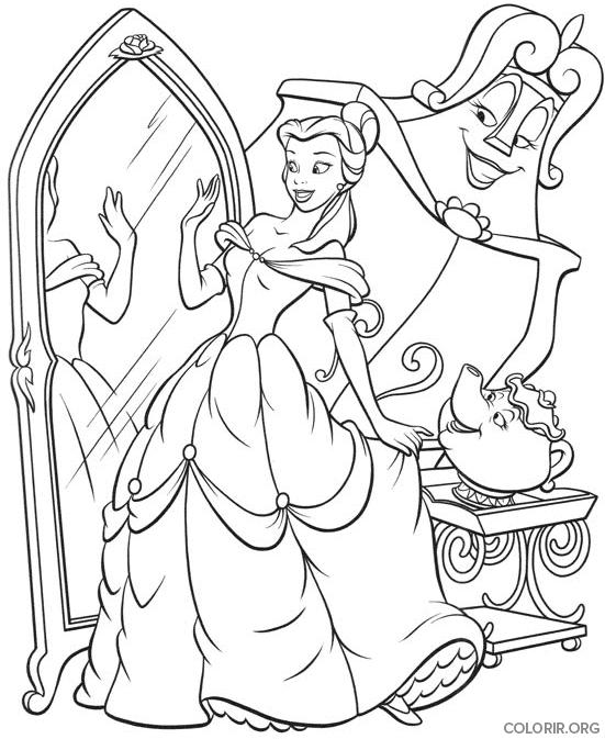 Bela olhando no espelho para colorir