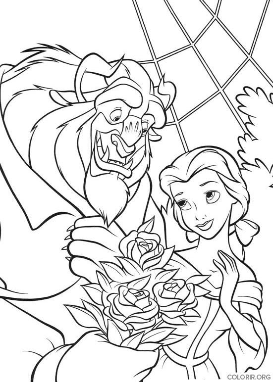 Bela recebendo buquê de rosas para colorir
