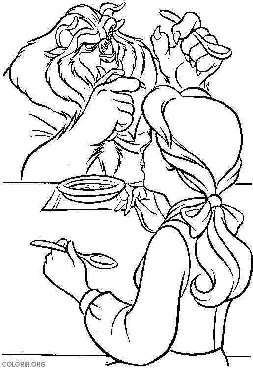 Bela tomando sopa com Fera