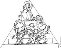 Personagens de Alvin e Os Esquilos na escada
