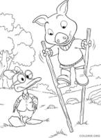 Piggley e Dannan com pena de pau