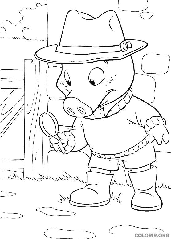 Piggley Winks brincando de detetive