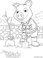 Piggley Winks plantando árvore