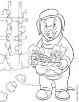 Senhor Piggley com cenouras
