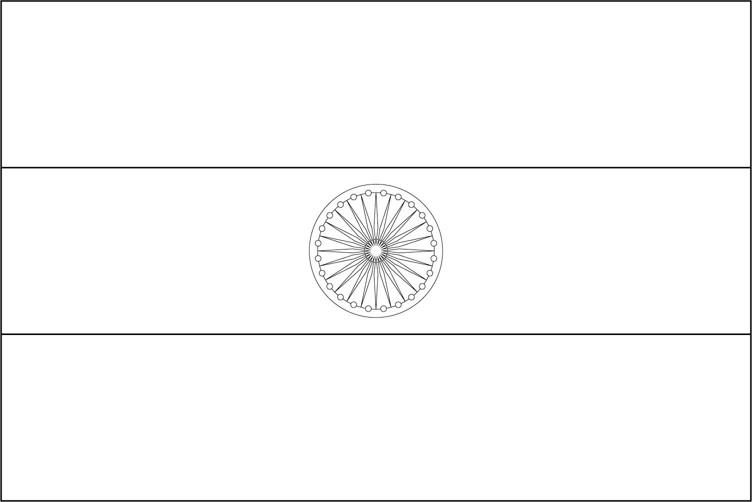 Bandeira da Índia para colorir