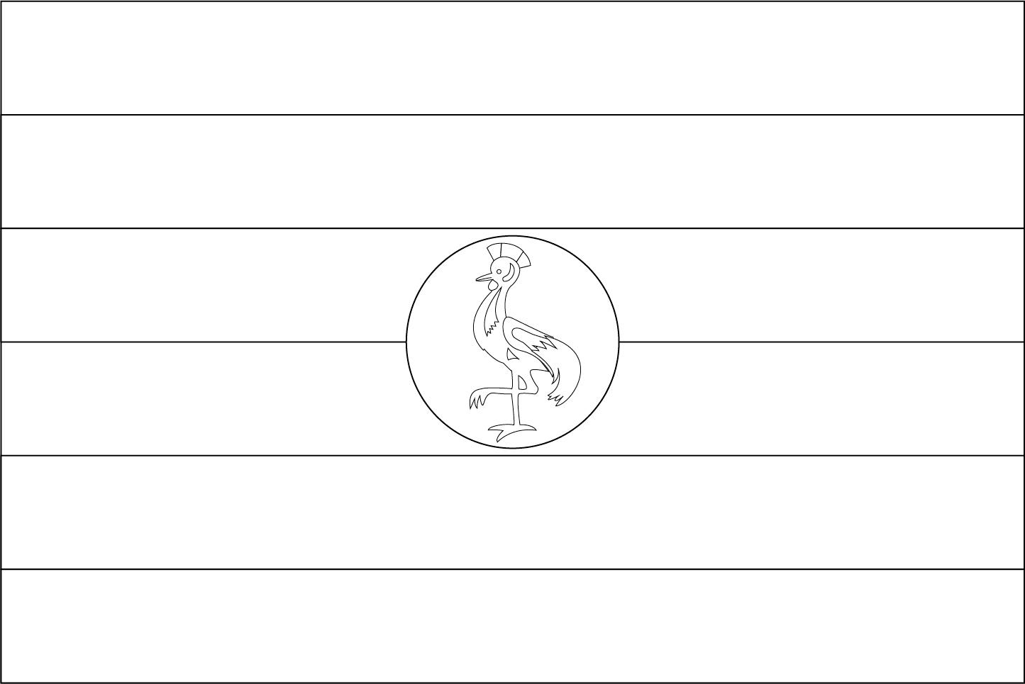 Bandeira da Uganda para colorir